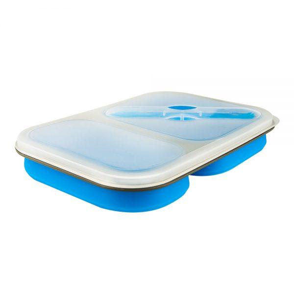 Faltbare Lunchbox aus Silikon mit 2 Fächern und einem Göffel.-2