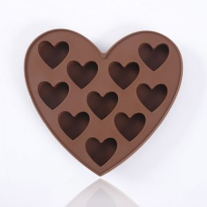 Detail of silicone shaped chocolate mold with hearts - 1
